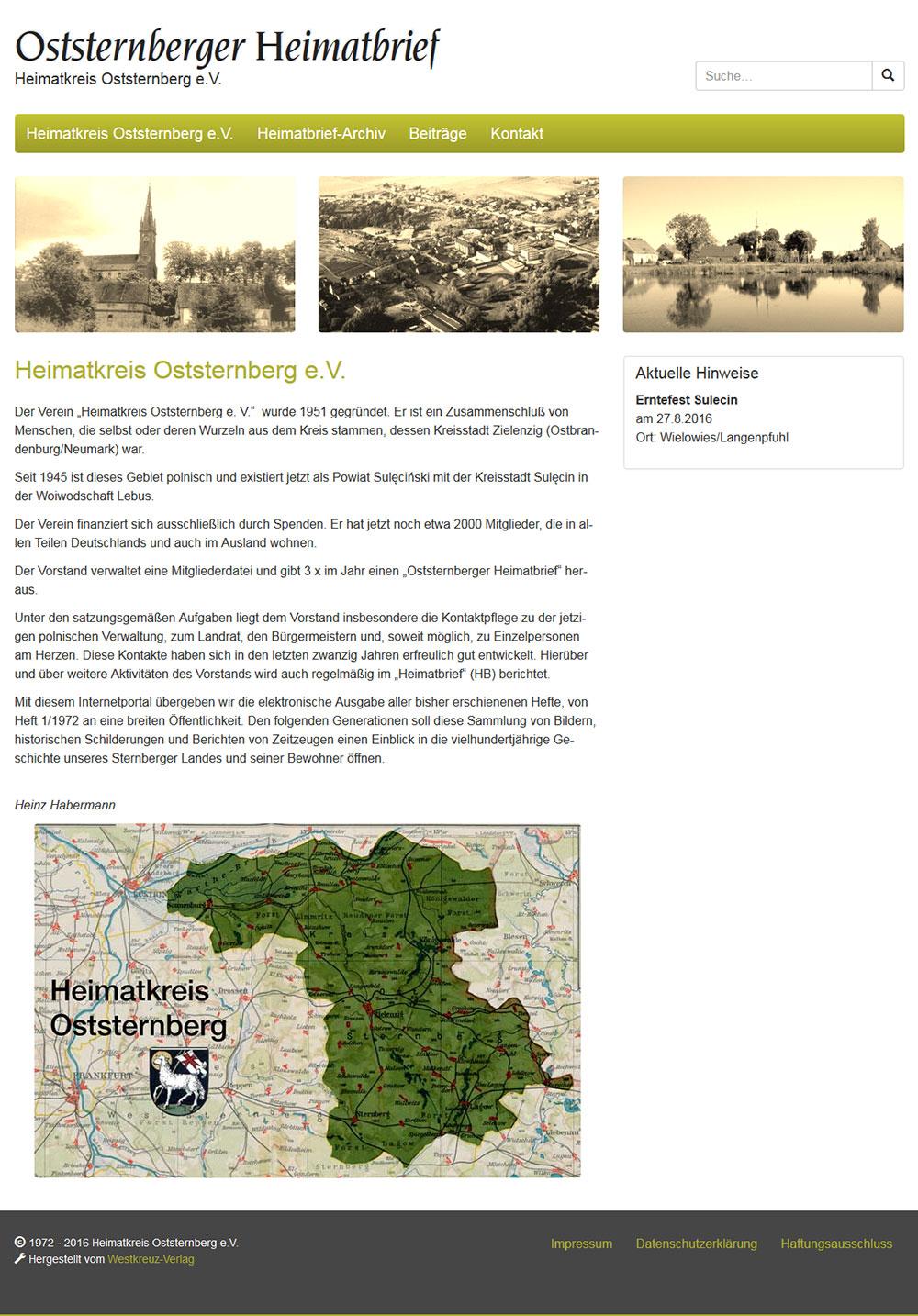 Webseite Heimatkreis Oststernberg gestaltet vom Westkreuz-Onlineservice