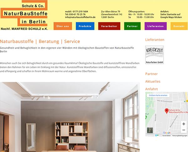 Webseite von Naturbaustoffe Berlin – Beratung, Produkte und Service