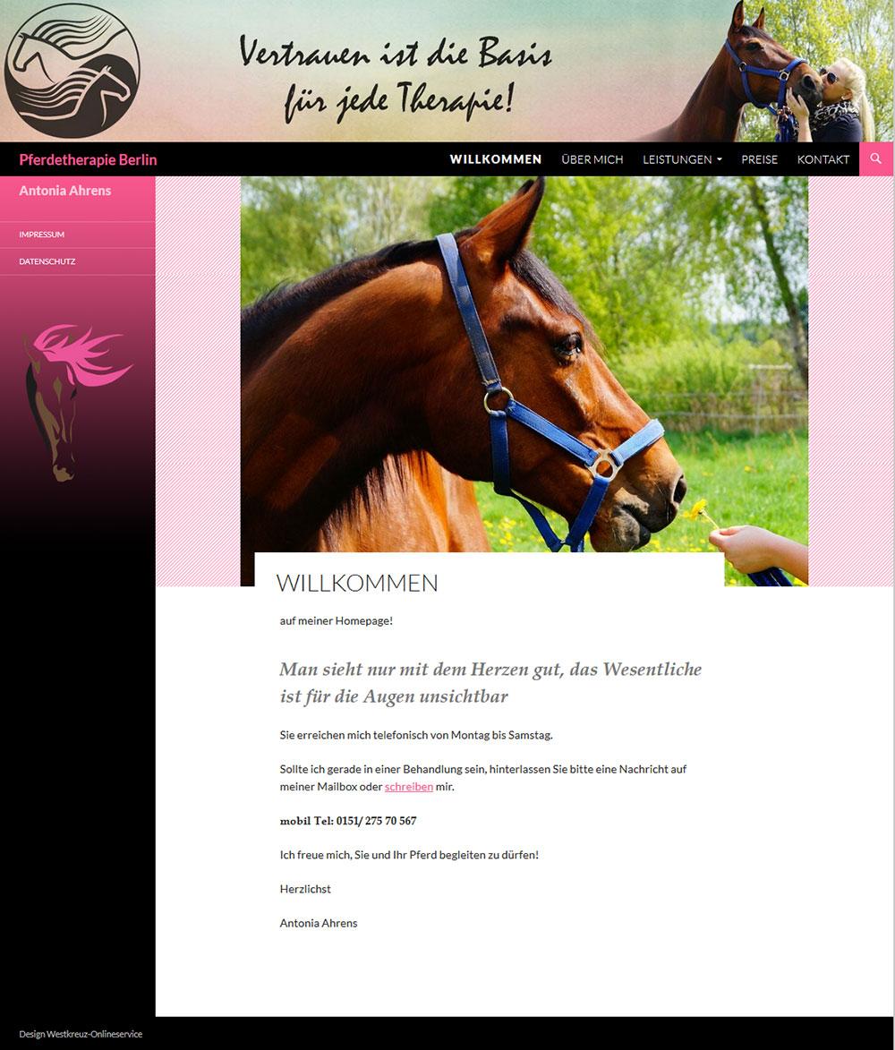 Pferdetherapie Antonia Ahrens wurde gestaltet vom Westkreuz-Onlineservice