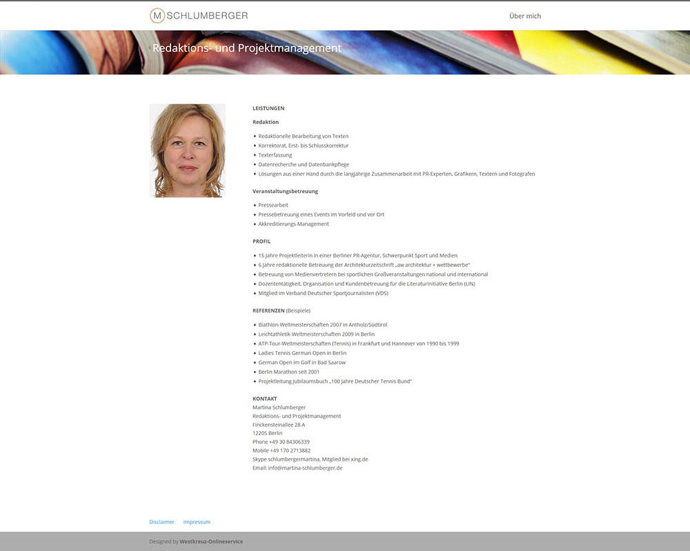Die Webseite gehört Martina Schlumberger